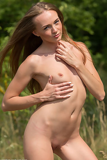 Andrea Sixth in Andrea Sixth by Marlene outdoor sunny woods blonde blue eyes shaved ass
