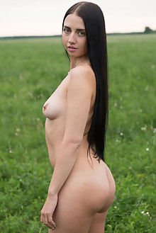 Veronica Snezna in In The Field by Stan Macias outdoor brunette green eyes shaved pussy
