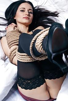 Eva Kahil in Rope by Higinio Domingo indoor brunette black hair blue eyes shaved pussy bondage latest