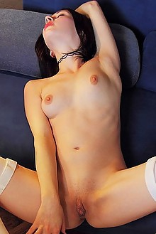 Night A in Blue Room by Iona indoor brunette green eyes shaved pussy ass