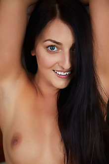 Katy Rose in Smile Bright by Erro indoor brunette black hair green eyes shaved pussy labia