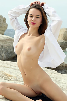 Debora A in Xaleda by Rylsky outdoor sunny beach brunette br...