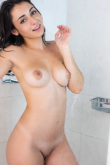 Dionisia in Wet by Tora Ness indoor brunette black hair boob...