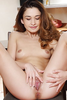 Susie in Stinna by Blake Jasper indoor brunette brown eyes small tits shaved pussy fingering labia ass latest
