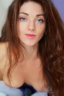 Presenting Jadis by Iona indoor brunette blue eyes boobies shaved pussy socks