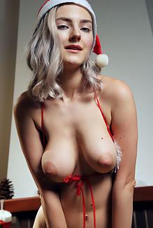Eva Elfie in Santa Baby by Vicente Silva indoor blonde green eyes boobies shaved pussy ass fingering