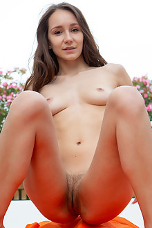 Megan Muse in Soft Fur by Rylsky indoor outdoor brunette brown eyes hairy trimmed pussy