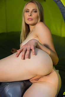 Maria Rubio in Camp Out by Karl Sirmi outdoor sunny woods blonde blue eyes shaved pussy
