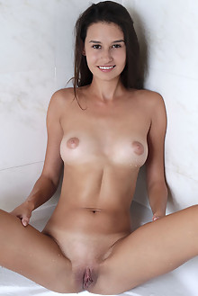 Cristin in Refresh by Dave Lee indoor brunette brown eyes shaved pussy
