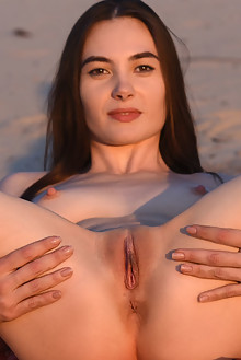 Lola Cherie in Beach Topping by Fabrice outdoor beach sunny brunette brown eyes shaved pussy