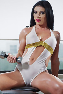 Inna Innaki in Body Building by Alis Locanta indoor brunette black hair brown eyes boobies shaved pussy dildo oiled latest