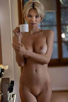 Macha Chi in Chefs Kitchen by Charles Lightfoot indoor blonde boobies shaved