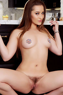 dani daniels hot in the kitchen holly randall indoor brunette blue boobies unshaven hairy pussy hips