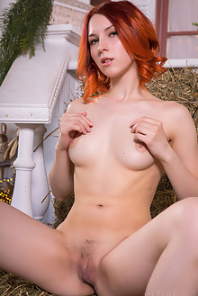 Elin Dane in Hay Bales by Nudero flame indoor redhead hazel eyes boobies trimmed pussy custom