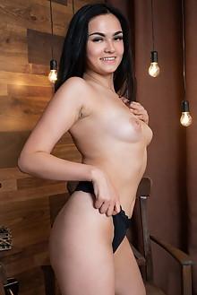 Mileva in Trunk Show by Tora Ness indoor brunette black hair hazel eyes petite shaved pussy