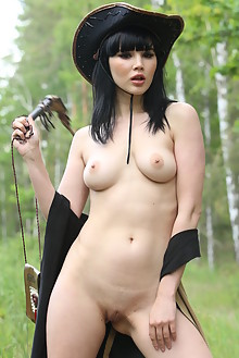 Malena in On The Range by Quanty Rodriguez outdoor woods brunette black hair brown eyes boobies sunny shaved pussy ass