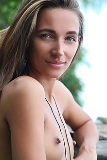 Kenya in Secret Dock by Leonardo outdoor woods brunette green eyes small tits shaved pussy