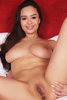 Astrid Herrara in Red Velvet by Flora indoor brunette brown eyes boobies shaved pussy