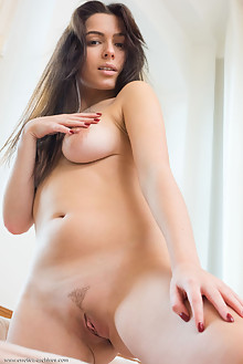 Marina R in Marina R by Tora Ness indoor brunette boobies shaved pussy tight