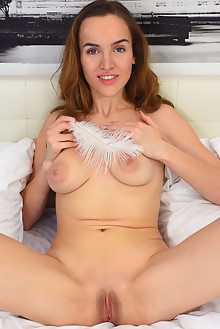 Eva Jolie in Soft Feather by Fabrice indoor brunette brown eyes boobies shaved pussy ass custom