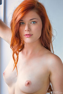 Mia Sollis in Classic Red by DeltaGamma indoor redhead green eyes boobies shaved pussy tight custom