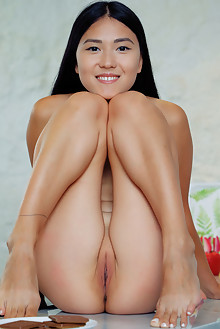 Kimiko in Sweets by Arkisi asian indoor brunette black hair brown eyes shaved pussy ass