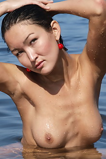Rusya in Mermaid On Stone by Thierry Murrell outdoor sunny beach asian boobies shaved wet ass