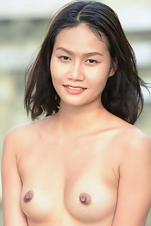 Presenting Jesikah by Robert Graham outdoor sunny asian poolside brunette black hair brown eyes small tits hairy unshaven pussy