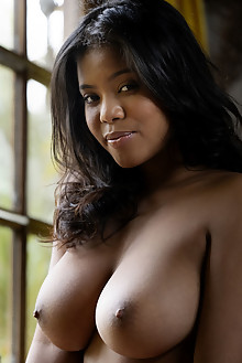 Presenting Nia Nicce by Charles Lightfoot ebony indoor boobies busty brunette brown eyes black hair shaved pussy