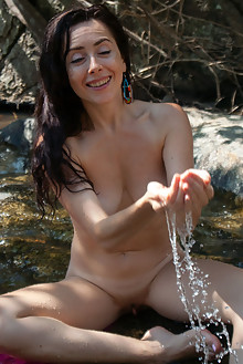 Madivya in On The Blanket by Angela Linin outdoor sunny river brunette wet boobies shaved