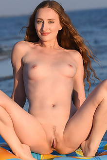 Erin Pink in Beachy by Fabrice outdoor sunny beach brunette blue eyes shaved pussy labia custom