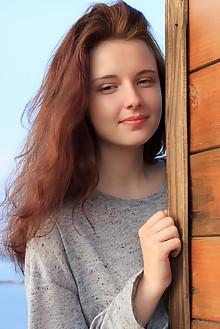 Sienna in Veranda by Rylsky outdoor cloudy redhead green eyes boobies shaved pussy custom