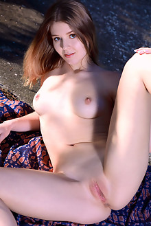 Libby in Nature  A Go Go by Matiss outdoor woods sunny blonde brown eyes boobies shaved pussy custom