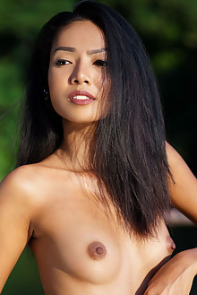Magen in Warm Sun by Luca Helios outdoor sunny asian brunette black hair brown eyes small tits shaved custom