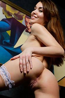 rosie lauren new model presenting matiss indoor brunette brown petite puffy ass pussy