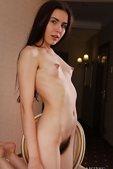 Frankie in Hotel Fun by Egon Schneider indoor brunette brown eyes small tits hairy unshaven bush pussy custom