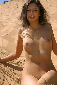 Laetitia N in Lying in the Sand by Thierry Murrell outdoor sunny beach brunette shaved