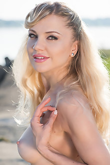 Mila N in On The Beach by Tora Ness outdoor sunny beach blonde blue eyes boobies shaved pussy