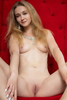 Clara in Red Throne by Tora Ness indoor blonde blue eyes small tits shaved pussy