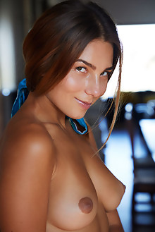 Belka in Bent Over by Erro indoor brunette brown eyes boobies tanned shaved custom
