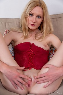 Gerda Rubia in Corset by DeltaGamma indoor blonde blue eyes shaved pussy ass fingering