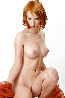 Clelia in Simply Red by Philippe Carly indoor redhead blue eyes boobies shaved tight latest