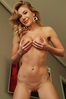 Candice B in Flirty Blouse by Leonardo indoor blonde green eyes boobies shaved pussy ass custom