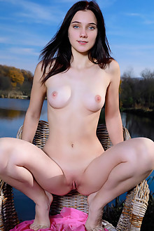 Polly Pure in Sheer Pink by Matiss outdoor sunny brunette black hair blue eyes boobies shaved river pussy custom