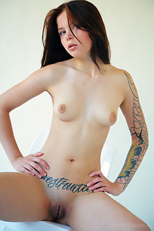 Inky in Casting by Arkisi indoor brunette blue eyes tattoo shaved pussy ass petite latest