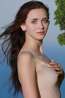 Helena B in Ocean Breeze by Matiss outdoor sunny seaside brunette blue eyes shaved tight
