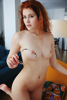 Adel C in Red Hot by Arkisi indoor redhead hazel eyes boobies shaved pussy custom