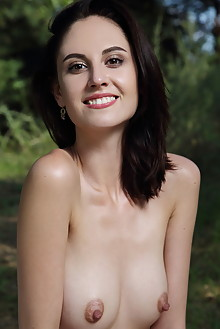 Sade Mare in Anduti by Leonardo outdoor woods brunette black hair brown eyes shaved pussy latest