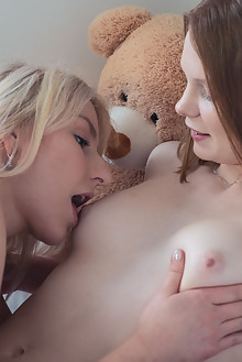 Adora Rey and Ginger Mary in Breakfast In Bed by Xanthus indoor brunette blonde shaved pussy lick