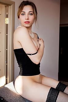 Presenting Stephanie Pearl by Albert Varin indoor blonde blue eyes boobies shaved pussy labia custom